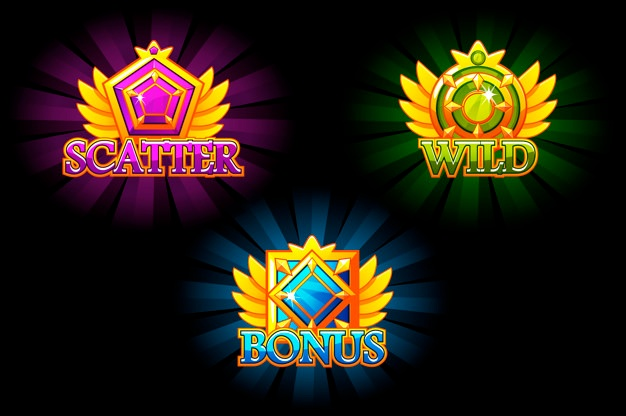 Premium Vector | Slot icons. bonus, scatter and wild. colorful jewelry stones. awards with gems. game asset for casino and ui